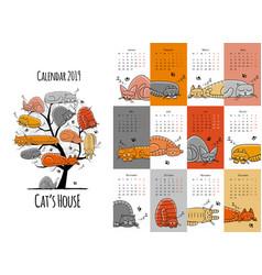 Sleeping cats design calendar 2019 vector