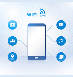 smartphone with wireless zone vector image