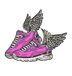 Sneakers with wings color sketch engraving vector