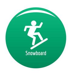 Snowboard icon green vector