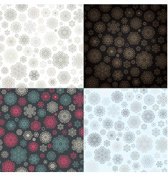 Snowflake seamless pattern set eps 10 vector