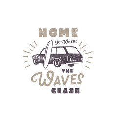 Summer label with retro surf car surfboard and vector