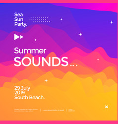summer sounds electronic music fest poster design vector image