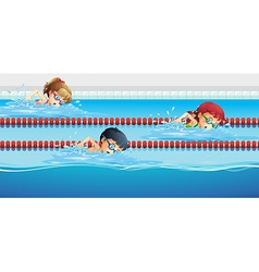 Swimmers racing in the pool vector