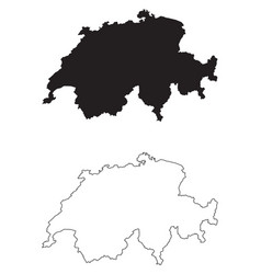 Switzerland country map black silhouette and vector