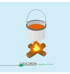 The soup is cooked in a cauldron Isometric vector