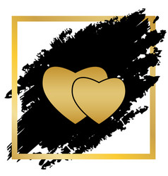 two hearts sign golden icon at black spot vector image