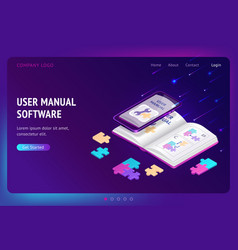 user manual software isometric landing web banner vector image