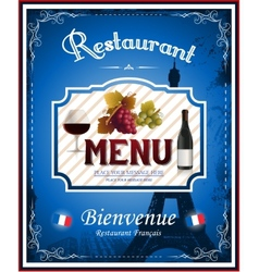 Vintage french restaurant menu and poster design vector image