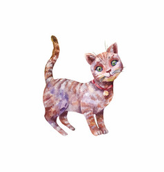 Watercolor cute gray kitten isolated vector