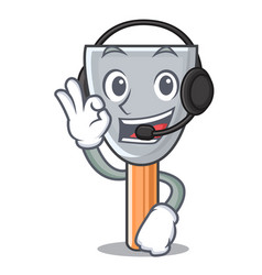 With headphone vintage putty knife on mascot vector