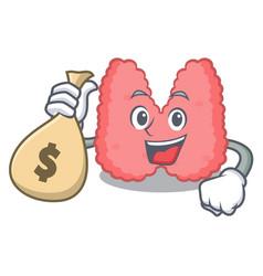 With money bag thyroid character cartoon style vector