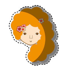 Woman face with flower in the hair icon vector