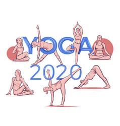 yoga 2020 lettering typography pose asana vector image