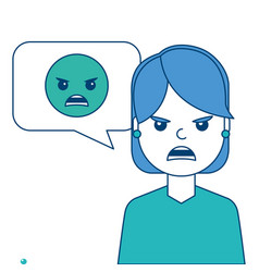 Young woman with angry emoticon in speech bubble vector