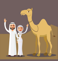 arab couple family muslim people vector image vector image