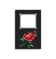 photoalbum cover design hand drawn red rose vector image vector image