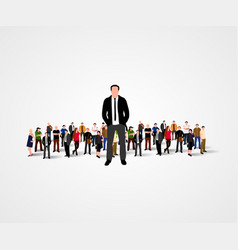 real leader - business man in crowd vector image