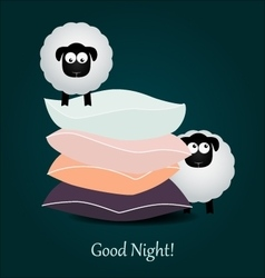Cute cartoon sheeps and color pillows Good night vector image vector image