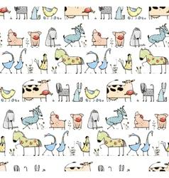 Funny Cartoon Village Domestic Animals Seamless vector image vector image