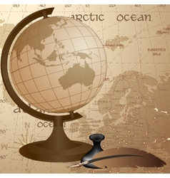 Geographic vintage background with globe feather vector image vector image
