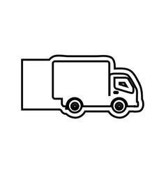 monochrome contour emblem with truck vector image