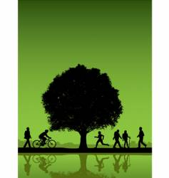 people under a tree background vector image vector image