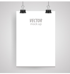 Poster clothespins on a white sheet for your vector image vector image
