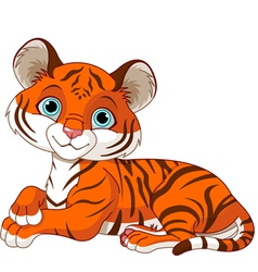 Resting little tiger cub vector image