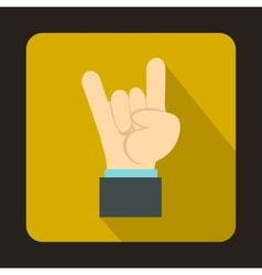 Rock and Roll hand sign icon flat style vector image