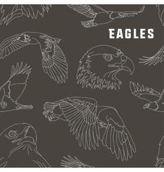 Set of eagles pattern vector image