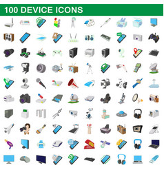 100 device icons set cartoon style vector image vector image