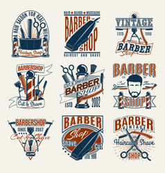 colored vintage barbershop logotypes set vector image vector image