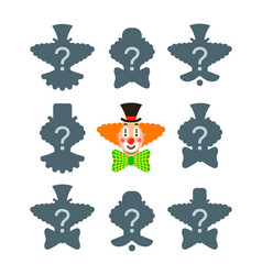 match the correct clown shadow puzzle game vector image