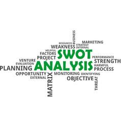 word cloud - swot analysis vector image vector image