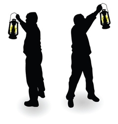 working man with lantern in hand black silhouette vector image vector image