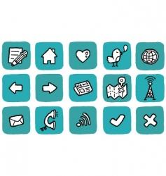 doodle icon set website vector image