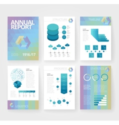Infographics brochure blue poly green vector