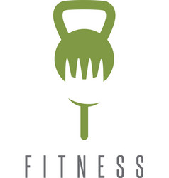 kettlebell and fork healthy food design template vector image vector image