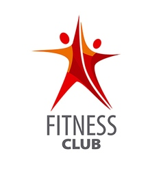 logo for fitness in the form of a red star vector image