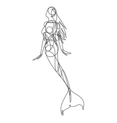 mermaid continuous line vector image vector image
