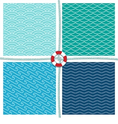 Sea pattern set background vector image