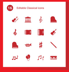 16 classical icons vector image