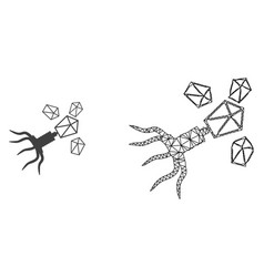 2d mesh virus replication and flat icon vector