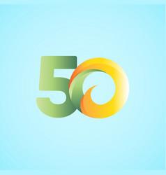 50 years anniversary celebrations yellow green vector