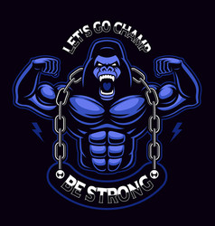 A muscled gorilla with chain vector