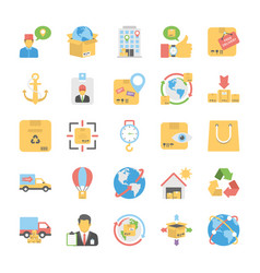 a pack of logistic delivery flat icons vector image
