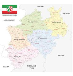 Administrative map north rhine-westphalia vector