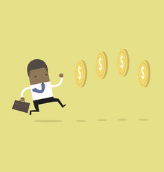 african businessman chasing coins video game style vector image