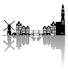 Amsterdam city skyline reflection vector